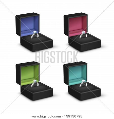 Vector Set of Silver Engagement Rings with White Shiny Clear Diamonds in Black Colored Jewelry boxes Close up Isolated on White Background
