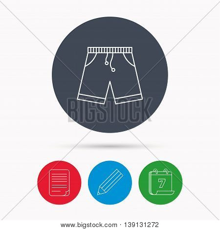 Shorts icon. Casual clothes shopping sign. Calendar, pencil or edit and document file signs. Vector