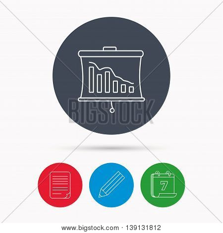 Statistic icon. Presentation board sign. Defaulted chart symbol. Calendar, pencil or edit and document file signs. Vector