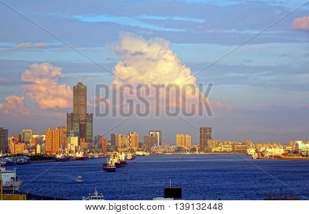 View Of Kaohsiung City At Sunset Time