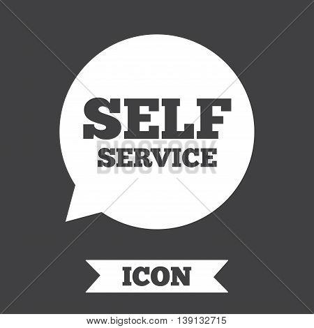 Self service sign icon. Maintenance symbol in speech bubble. Graphic design element. Flat self service symbol on dark background. Vector