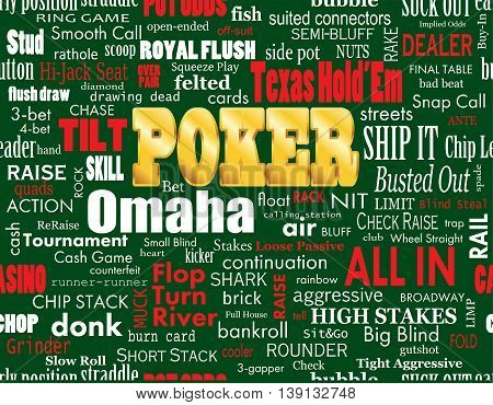 Poker Word Cloud with Industry Vernacular Seamless over Green