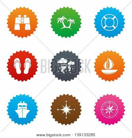 Cruise trip, ship and yacht icons. Travel, lifebuoy and palm trees signs. Binoculars, windrose and storm symbols. Stars label button with flat icons. Vector
