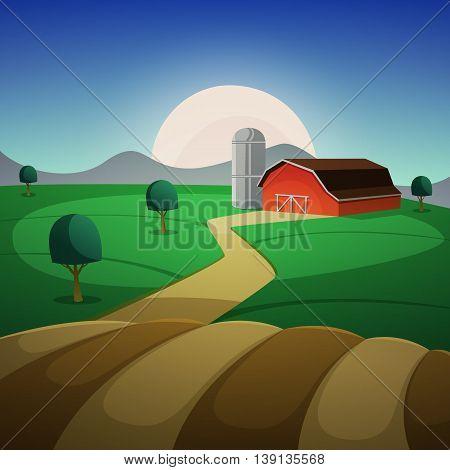 Red farm barn, night countryside landscape, cartoon vector illustration.
