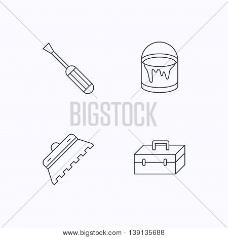 Screwdriver, trowel of tile and repair toolbox icons. Bucket of paint linear sign. Flat linear icons on white background. Vector