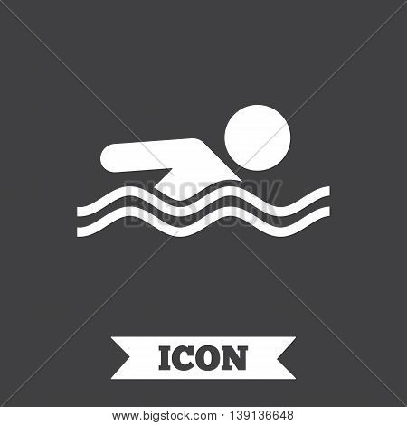 Swimming sign icon. Pool swim symbol. Sea wave. Graphic design element. Flat swimming symbol on dark background. Vector