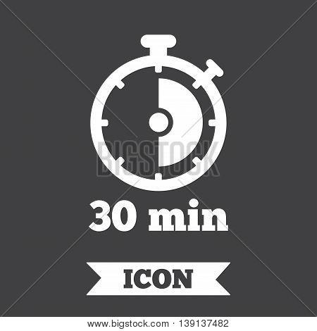 Timer sign icon. 30 minutes stopwatch symbol. Graphic design element. Flat timer symbol on dark background. Vector