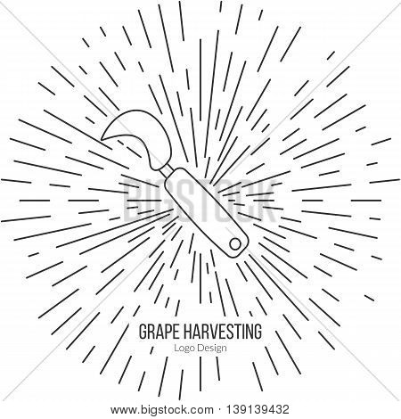 Grape hook harvesting knife with star burst. Single logo in modern thin line style isolated on white background. Outline winery symbol. Simple mono linear pictogram. Stroke raster logotype template.