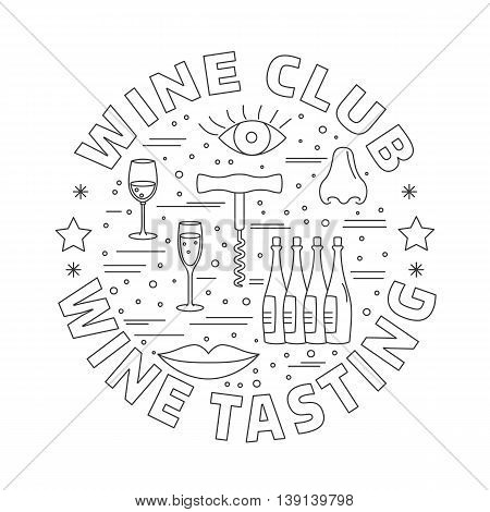 Winery icons arranged in circle composition isolated on white background. Winemaking, wine tasting template for banner, flyer, t shirt, book cover. Winery symbols in line style. raster illustration.