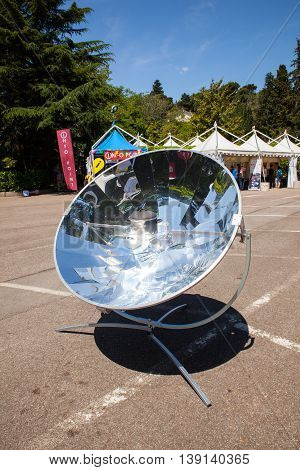 View of a parabolic dish solar energy mirror