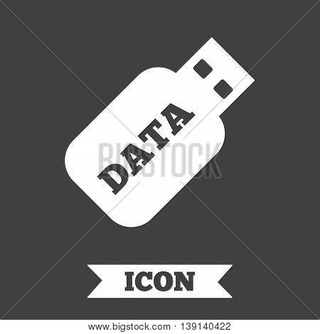 Usb Stick sign icon. Usb flash drive button. Graphic design element. Flat usb symbol on dark background. Vector