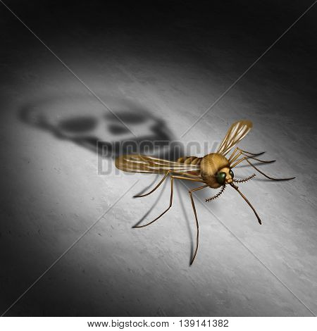 Mosquitto disease transmitting illness concept as an infected insect casting a shadow shaped as a death skull for zika virus risk that represents the danger of transmitting infection through bug bites resulting in infection and fever in a 3D illustration