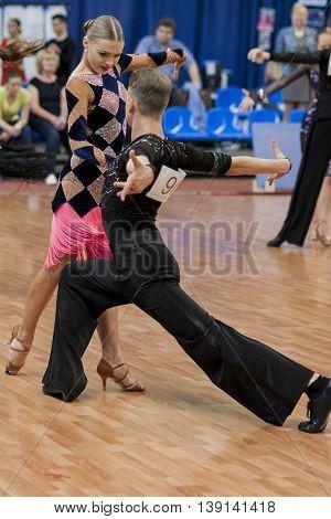 Minsk Belarus -May 29 2016: Ermolovich Konstantin and Snegir Anna Perform Juvenile-2 Latin-American Program on National Championship of the Republic of Belarus in May 29 2016 in Minsk Republic of Belarus