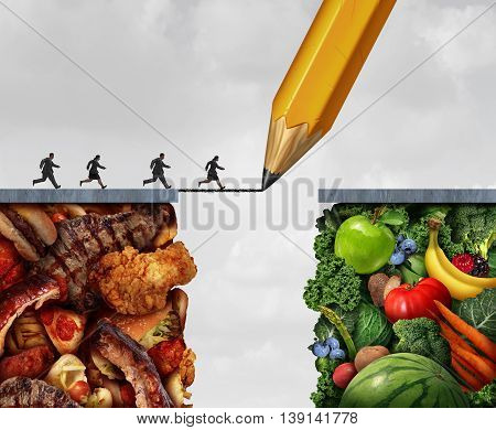 Changing to vegan and making a transition to vegetarian eating lifestyle as a group of overweight people running across a pencil drawing bridge from meat and greasy junk food towards fresh fruit and vegetables with 3D illustration elements.