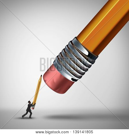 Fight the establishment business challenge concept and underdog metaphor as a businessman defending himself against a giant pencil eraser as a symbol for fighting the established big power or preventing job cuts with 3D illustration elements.