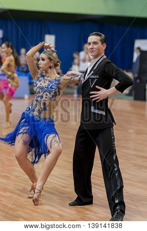 Minsk Belarus -May 28 2016: Belyavskiy Vladislav and Belan Dariya Perform Juvenile-2 Latin-American Program on National Championship of the Republic of Belarus in May 28 2016 in Minsk Republic of Belarus