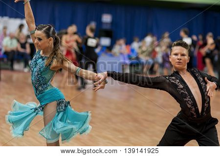 Minsk Belarus -May 29 2016: Shkinderov Vladislav and Belisova Polina Perform Youth-2 Latin-American Program on National Championship of the Republic of Belarus in May 29 2016 in Minsk Belarus