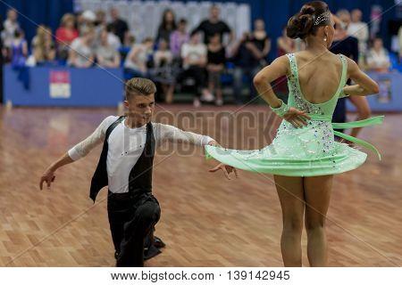 Minsk Belarus -May 29 2016: Gerasimenok Kirill and Davidovich Aleksandra Perform Adult Latin-American Program on National Championship of the Republic of Belarus in May 29 2016 in Minsk Belarus