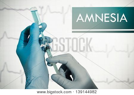 Stop amnesia. Syringe is filled with injection. Syringe and vaccine