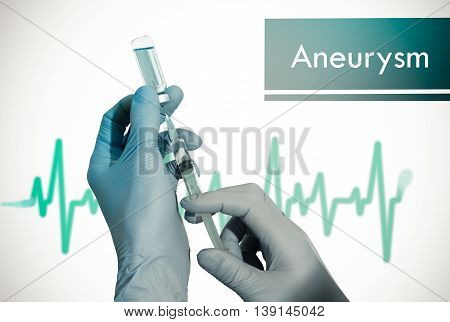 Treatment of aneurysm. Syringe is filled with injection. Syringe and vaccine. Medical concept.