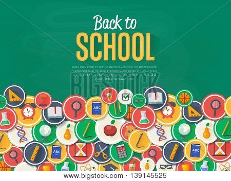 Back to school background. Education concept. Back to school banner. School flat vector icons. Back to school lettering. Arts and science background. School symbols. Knowledge sign.