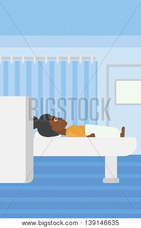An african-american woman undergoes magnetic resonance imaging scan test at hospital room. Vector flat design illustration. Vertical layout.