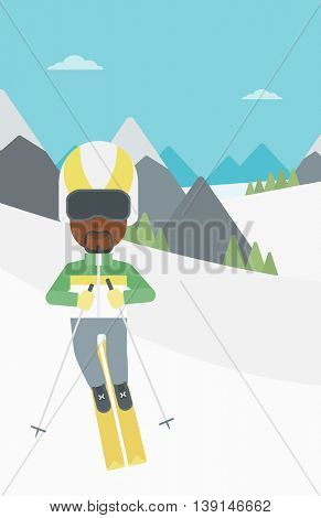 An african-american sportsman skiing on the background of snow capped mountain. Skier skiing downhill in mountains. Male skier on downhill slope. Vector flat design illustration. Vertical layout.