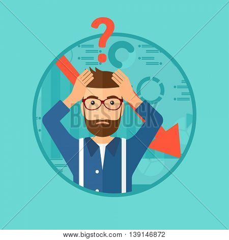 A hipster bankrupt clutching his head. Bankrupt with a big question mark above his head. Concept of business bankruptcy. Vector flat design illustration in the circle isolated on background.