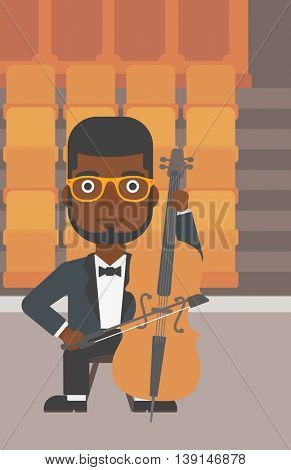 An african-american man playing cello on the background of empty theater seats vector flat design illustration. Vertical layout.