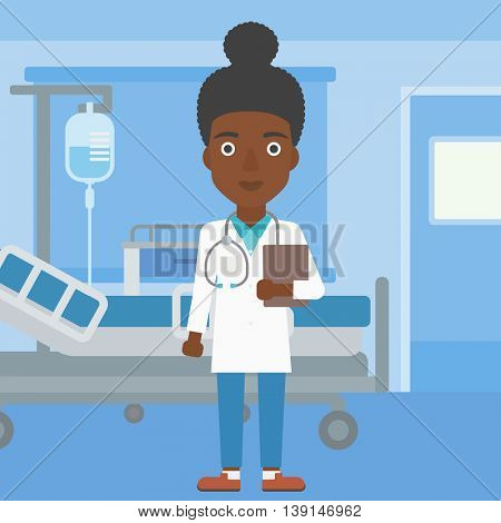 An african-american young female friendly doctor with stetoscope standing in hospital ward and carrying folder of patient or medical information. Vector flat design illustration. Square layout.