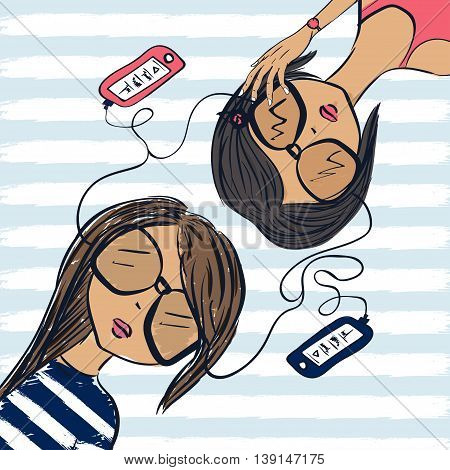 Girlfriend teenagers lie and listen to the music in the player. Vector illustration