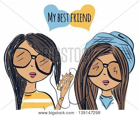 Fun fashionable girl friend. Fashion girls. Best friends listen to music. Vector illustration