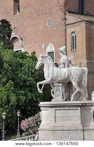 ROME ITALY - JUNE 11 2016: One of the Dioscuri on Cordonata del Campidoglio in Rome.