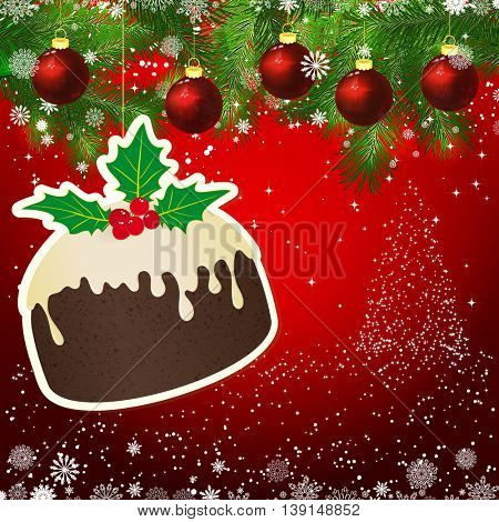 Puding New Year design background. Template card whit red Christmas balls on the green branches. Silhouette of a Christmas tree made of stars. Falling snow.  Holiday illustration with place for text.