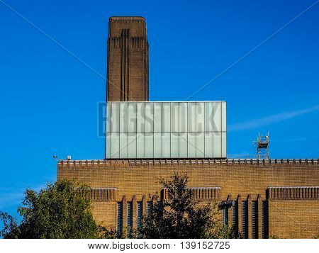 High dynamic range HDR Tate Modern art gallery in South Bank power station in London UK poster