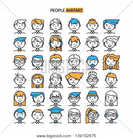 Set wth thin line con of people stylish avatars for profile page social network social media different age man and woman characters. Vector illustration