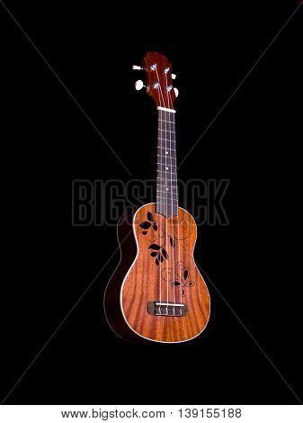 hawaii ukulele guitar isolated against black background flower sound hole