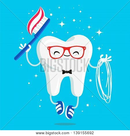 Happy healthy tooth with toothpaste brush and floss in red glasses and blue sneakers. Vector illustration on a blue background. Concept of children's dentistry. Excellent dental card. Cute character. Caries prevention.