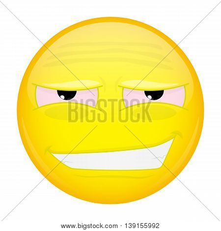 Tired smiling emoji. Weary emotion. Tired grin emoticon. Vector illustration smile icon.