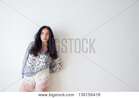 Young Woman Portrait White Background, Not Isolated