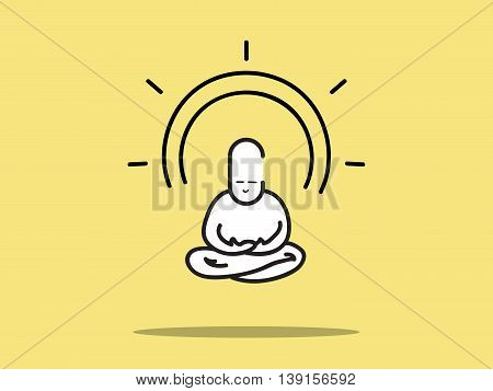 Vector : Man Meditation With Circle Aura On Yellow Background