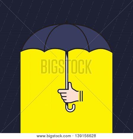 Vector : Hand Holding Umbrella Under Rain With Yellow Light Under Umbrella, Creative In Bad Situatio