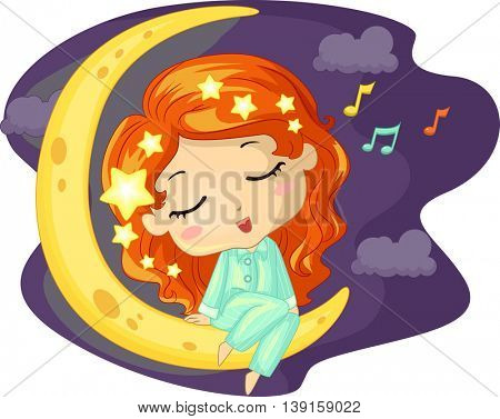 Illustration of a Little Girl Singing While Sitting on the Moon