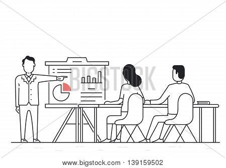 Vector Linear Concept of Business Meeting Sharing Ideas and Experience Collaboration and discussion. Balanced Scorecard and Development