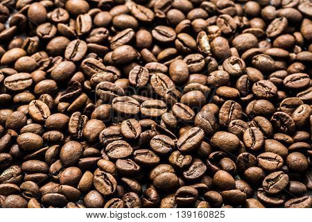 Coffee Beans On White Wooden Background