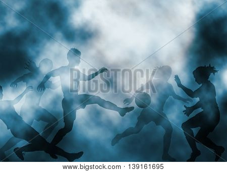 Editable vector illustration of ladies football match in a misty atmosphere created using gradient meshes