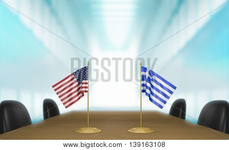 United States and Greece relations and trade deal talks, 3D rendering