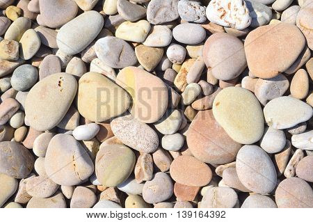 Closup of stones on a pebble beach in Sidmouth
