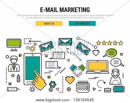 Vector line thin concept of e-mail marketing. Man with smartphone and woman with laptop sending a electronic letters. Can use like a header for web site.