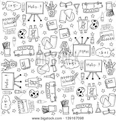 Education doodles vector stock with hand draw